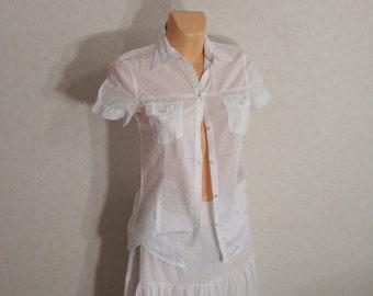 Cotton Woman white blouse, woman white shirt, White Blouse Women Blouse