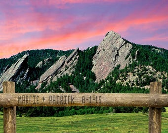 Boulder Colorado - Personalized Wedding Gift - Flatiron Mountains - Unique Romantic Gift - Anniversary Photo pp95