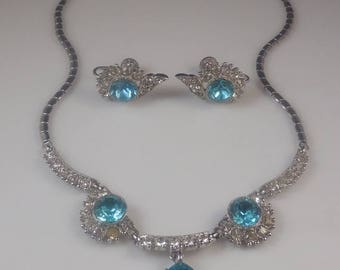 20% OFF SALE Vintage 1950s Bogoff  Aquamarine and Crystal Rhinestone Necklace and Earrings Rhodium Setting Demi Parure