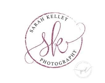Premade photography logo, Newborn Photographer Watermark, Glitter Logo Design, Custom color changes, Business card Logo, Social Media Logo