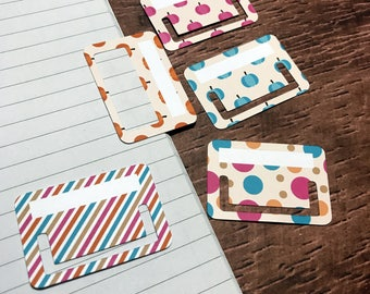 Tuck Tabs - Planner Tabs - Removable Planner Tabs. Set of 15.  Colourful Pumpkins
