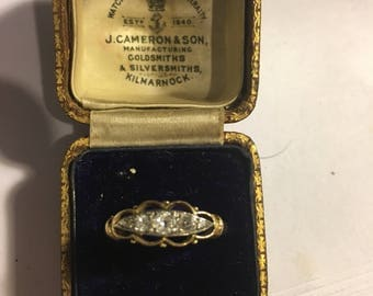 18ct yellow gold and platinum five stone old cut diamond ring from 1923