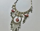 90s Statement Necklace, Peruvian Necklace, Vintage Handmade, Brown, Silver Metal, Jewelry Art, Bib Necklace, Hippie, Boho, Tribal, Unique