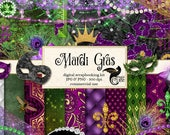 Mardi Gras Digital Scrapbooking Kit, digital papers, mask clipart, masquerade clip art, fleur de lis graphics, pearls, lace, diamond beads