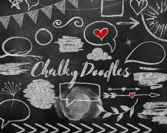 Chalky Doodles Clip Art, chalkboard clipart, chalk design elements, scribbles, chat bubbles, hearts, banners, blackboard texture download