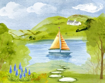 Digital illustration of the river and the same design greeting card