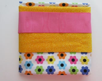 Pillowcase KIT - Bright Flowers - Instructions Included - 100% Cotton