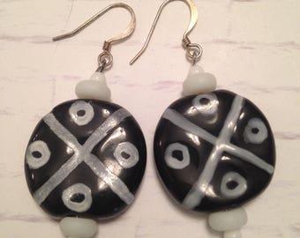 Black and white hand painted large Kazuri ceramic beads dangle earrings