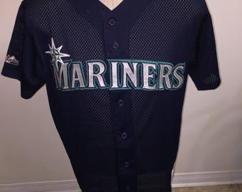 Vintage Seattle Mariners baseball jersey diamond collection majestic size large 90s