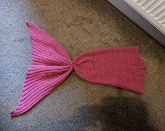 Mermaid blanket. Baby girl. Pink and grey