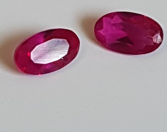 5 x 3mm pair oval Myanmar Ruby faceted 0.55ct
