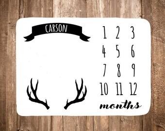 Deer Antler Baby Milestone Blanket - Baby Month Blanket - Monthy Baby Blanket - Monthly Photo Prop - Baby Shower Gift - Black