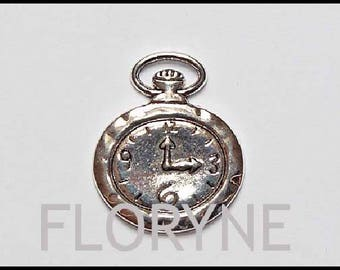 Charm pendant: Silver plated pocket watch