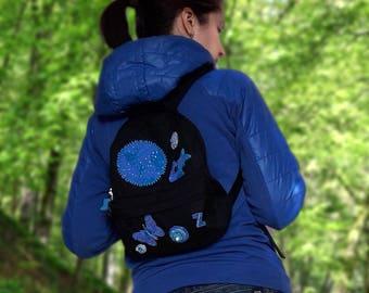 Vegan backpack Backpack mini City backpack black backpacks for women monogrammed backpack Earth lover gift Mini women backpack globe gift