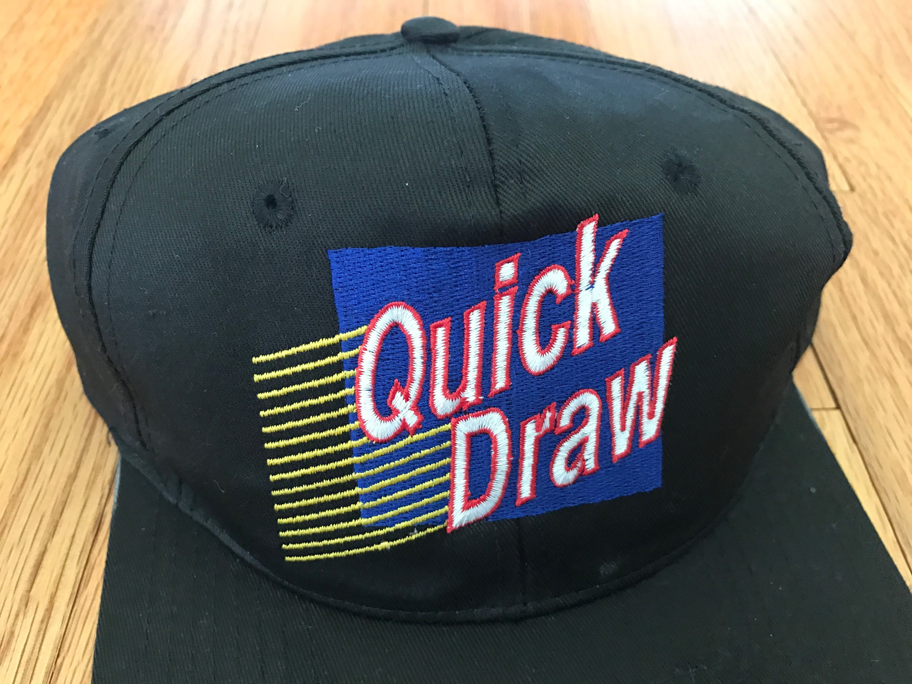 1003d4295455a Vintage 90s Quick Draw New York Lottery Rare Black Snapback Hat ...