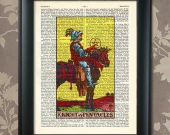Knight of Pentacles, Tarot Card Print, Tarot Card Poster,Tarot Print,Tarot art,Tarot wall art,Tarot Gift,Tarot Cards,Tarot Deck,Minor Arcana