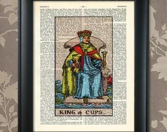 King of Cups, Tarot Card Print, Tarot Card Poster, Tarot Print, Tarot art, Tarot wall art, Tarot Gift,Tarot Cards,Tarot Deck, Minor Arcana