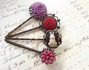 Wine Rose And Briar Rabbit Hair Clips