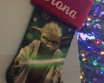 Star Wars YODA Christmas Stocking 20 inch Satin with Plush Cuff - Personalized
