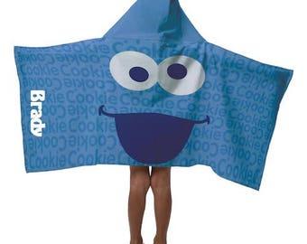 Sesame Street COOKIE MONSTER Hooded Towel Bath Pool Beach Hooded Towel wrap - Personalized Beach Towel