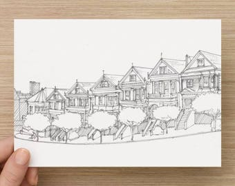 Ink sketch of the Painted Ladies Victorian houses in San Francisco, California