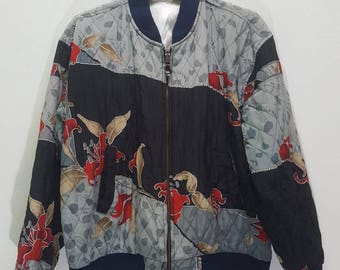 Vintage sukajan jacket reversible bomber with good desing floral motive