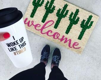 The ORIGINAL I Woke Up Like This Tired™ Travel Mug // coffee mug // hashtag tired // #TIRED mug // gifts for her // mom mug // funny mug