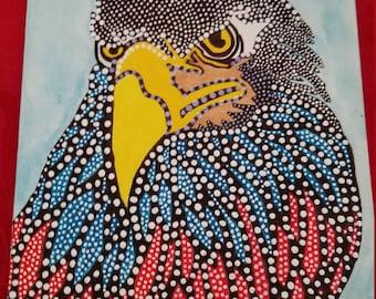 Unique, Hand Painted Dot Eagle Painting.  8 x 10 Canvas