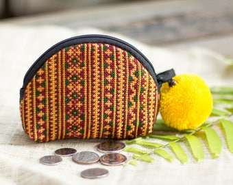 One of a Kind Hill Tribe Hmong Embroidered Coin Purse, Mini Pouch for Women, Pom Pom Hippie Purse for Women in Brown - BG1000VBR