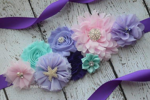 Maternity sash belt, Shades of purple  mint pink Sash, beach sash,  flower Belt, maternity sash, baby shower gift