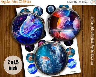 SALE 50% Sea Life Jellyfish Digital Collage Sheet 2 inch 1.5 inch Printable circle images for Pocket Mirrors Magnets Labels Pendant - 241