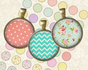 SALE 50% Shabby Chic Mix Circle - Digital Collage Sheet 1 inch Printable Circles Download for pendants magnets bottle caps