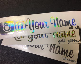 """Custom Name Instagram Decal for Laptop, Cars, iPad, iPhone, Water Bottles 9"""""""
