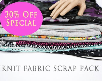 SALE Knit Fabric Variety Surprise Scrap Pack Larger Pieces