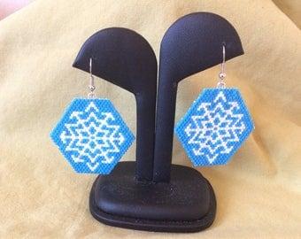 Blue Snowflake beaded earrings