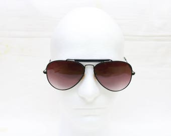 "Rare 80's Vintage ""JUPITER"" Black Double-Bridged Large Aviator Sunglasses"
