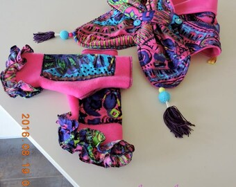 whole set fingerless gloves arm warmers mittens with fleece and cotton scarf Indian Paisley design