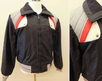 Vintage Yamaha Snowmobile Jacket, Motocross Snowmobile Racing Jacket, Winter Coat, Men's Large, Red Black Grey White
