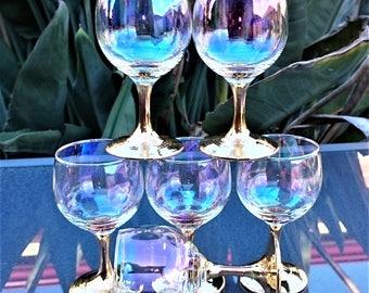 Iridescent Wine Glasses with Gold Gilt Stem and Base,  Rare Dorothy Thorpe Glasses - Set of 6 1960s