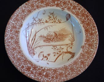 Aesthetic, COPELAND, Brown Transferware Bowl, Staffordshire, C. 1880's, Fall,  Nautical, Wall Decor, Cairo