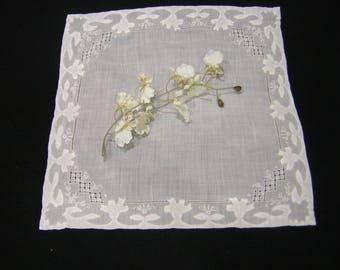 Vintage White Hanky, hankie, handkerchief, Bridal, Keepsake, drawnwork,madeira