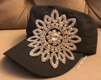 Imperfect Sale**Womens Hats, Womans Bling Rhinestone Cadet Cap, Military Style Hat