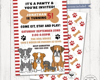 Puppy Dog Party Invitation Printable, Dog Birthday Invite, Dog Bone Paw-Ty Digital Invite, Animal Party Invitation, DIY Printable Invite