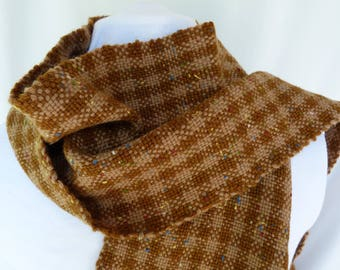 Handwoven Brown Two-Tone Wool Scarf