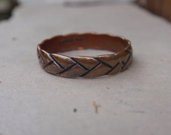 Copper Wedding Band Braided Rope ring mans ladies