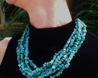SALE Vintage Beautiful 180 Grams of Southwest Multi Strand Nevada Blue Turquoise Necklace & Earrings Set