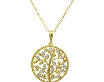 ON SALE tree necklace, tree disc necklace
