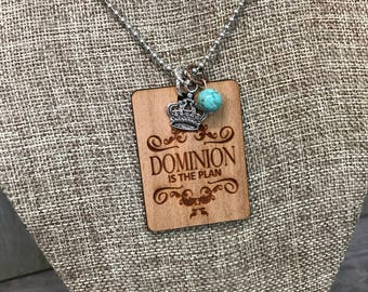 Dominion Necklace, Group Gift Ideas, Group Discounts, Christian Jewelry, Laser Engraved, Customized Jewelry, Bursting Barns Laser Engraving