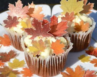 Edible Maple MINI Autumn Fall Leaves Wafer Rice Paper Leaf Wedding Cake Pop Decoration Birthday Cupcake Topper Thanksgiving Cookie Decor