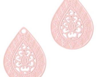 Bohemian Pendant-4 pcs.-20 x 15 mm-Drop shape-color selectable (color: light pink)